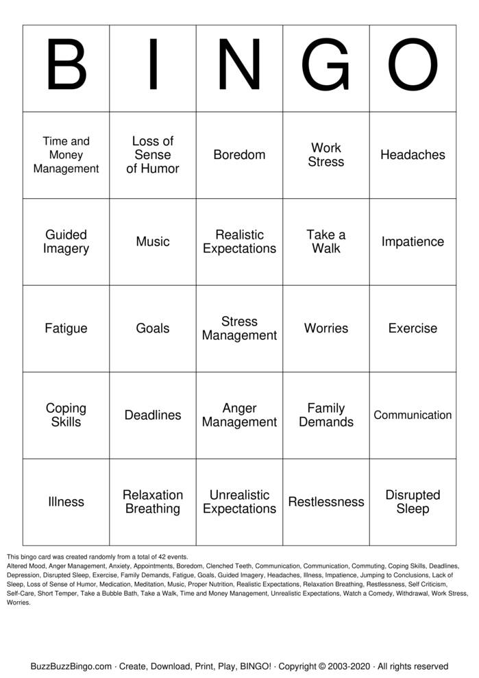 Download Free Depression bingo Bingo Cards