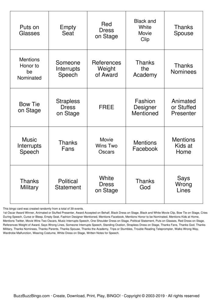 Hollywood Bingo Cards To Download Print And Customize