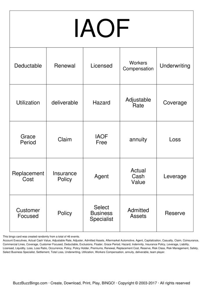 Download Free Insurance Associates of Fresno Bingo Cards