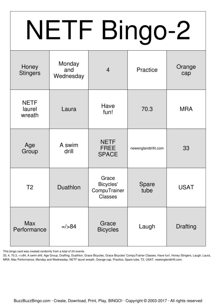 Download Free NETF- Round 2 Bingo Cards