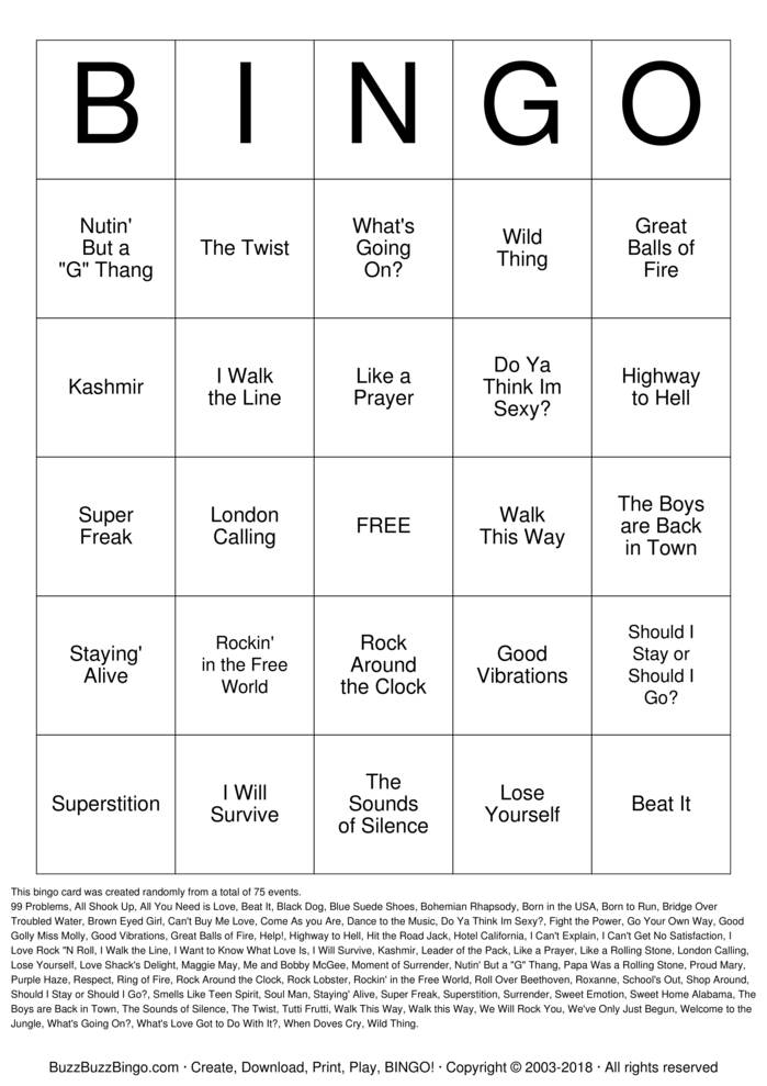 Download Free Rock 'N' Roll Bingo Cards