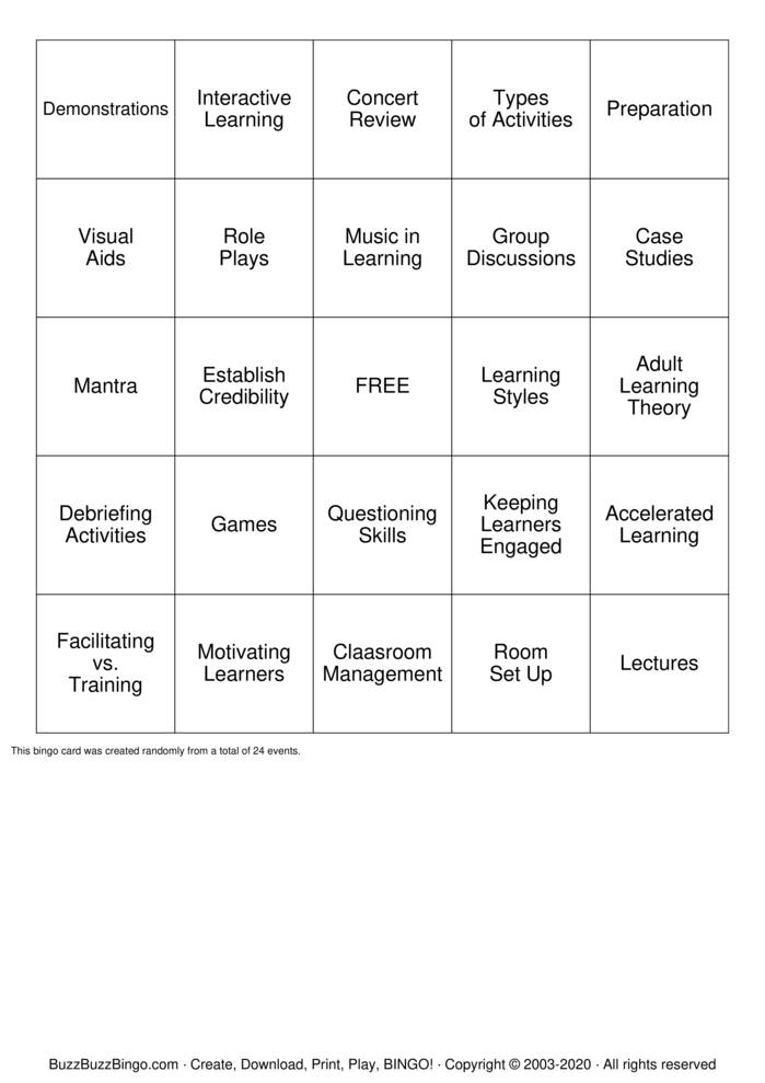 Training Terms Bingo Card