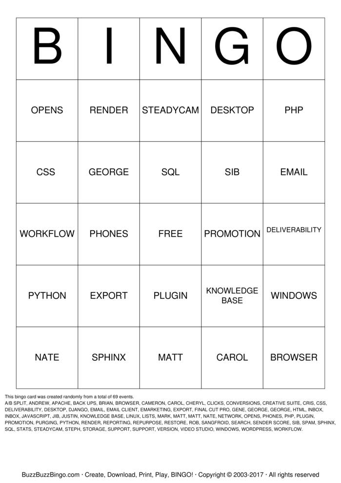 Download Free AHP I.T. LINGO CARD Bingo Cards