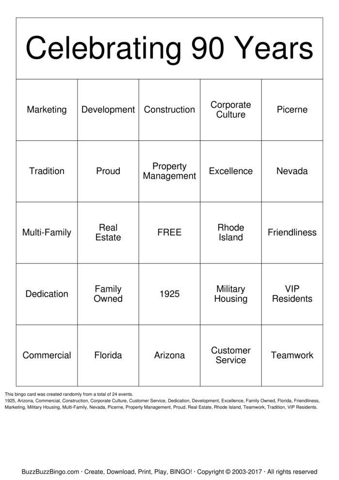Download Free Celebrating 90 Years Bingo Cards