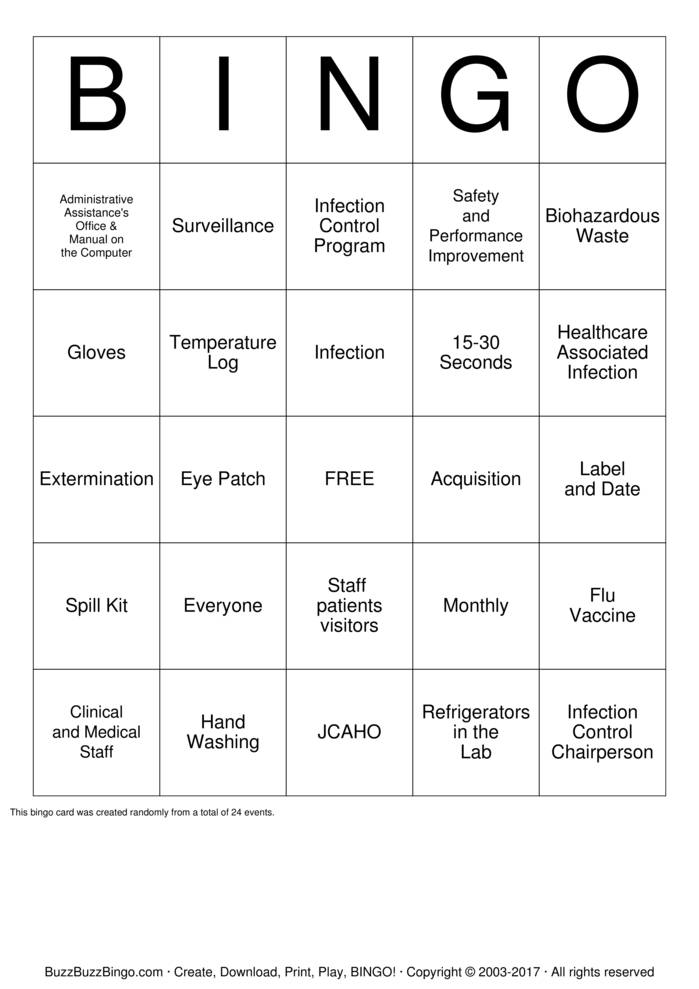 Download Infection Control Inservice Bingo Cards