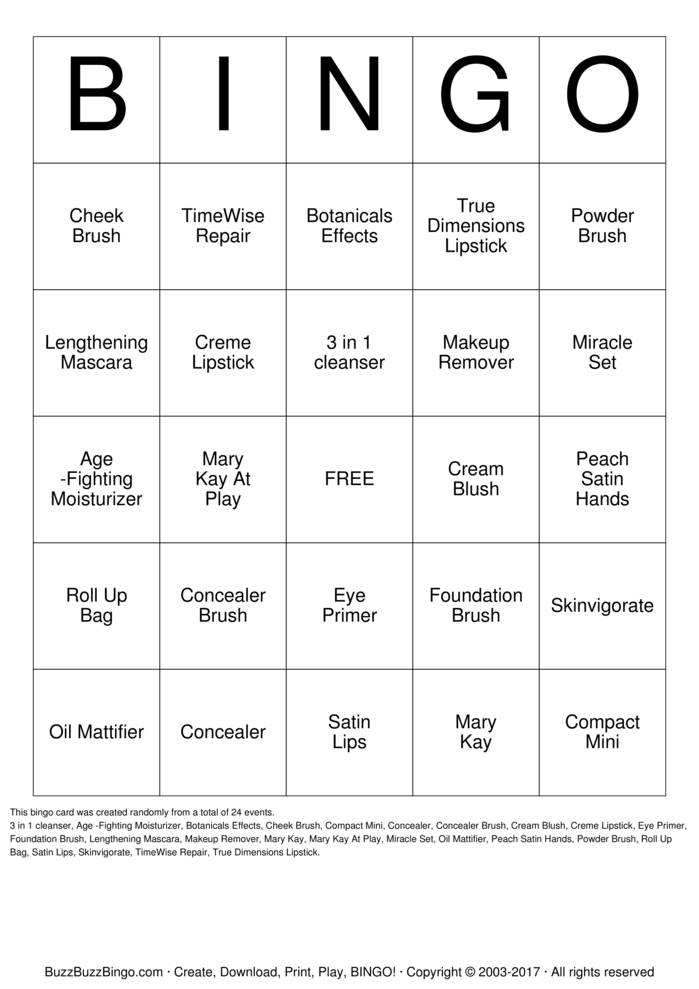 Mary Kay Bingo Bingo Card