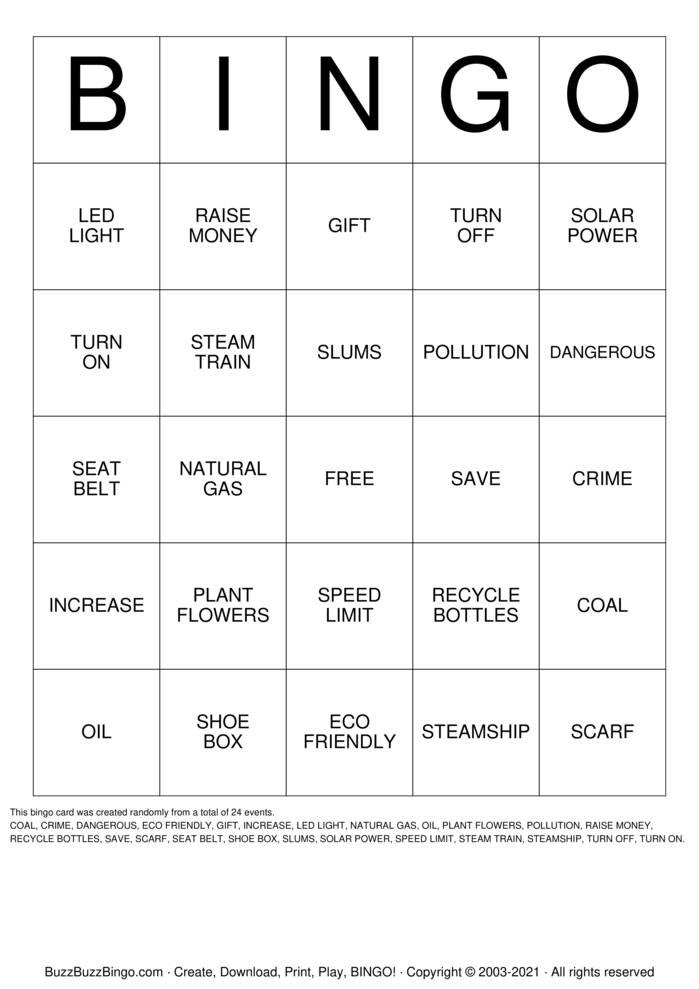Download Free Vocabulary Bingo Cards
