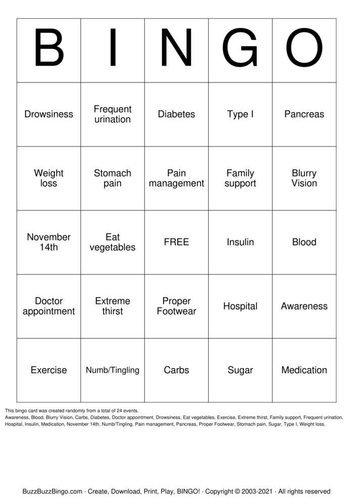 Download Free diabetes Bingo Cards
