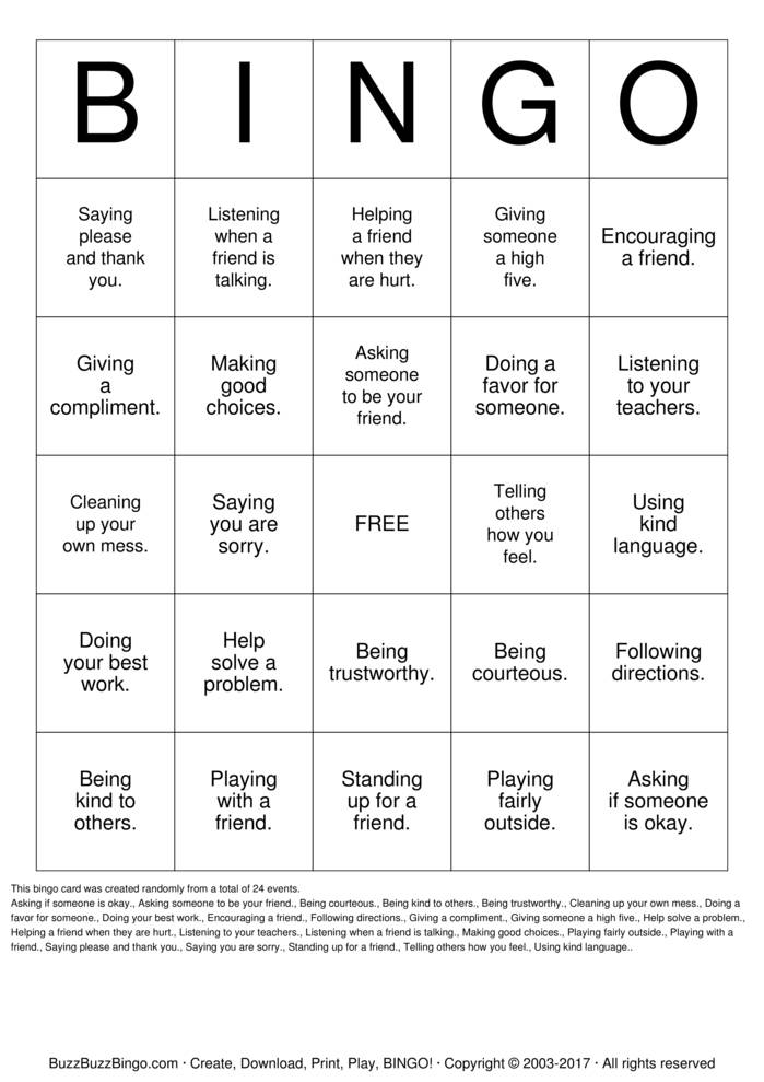 Download Free Be a Bucket Filler Bingo Cards