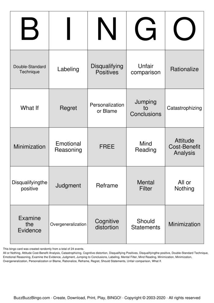 Download Free Cognitive Distortions  Bingo Cards