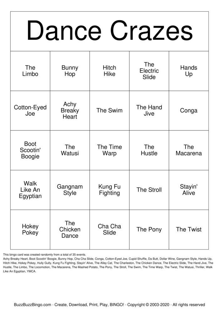 Download Free Dance Crazes Bingo Cards