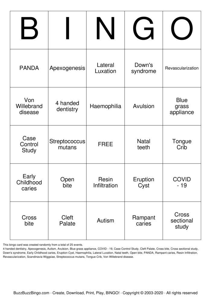 Download Free Dental Bingo Bingo Cards