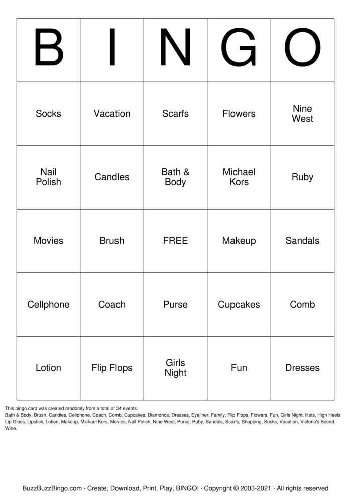 Download Free Ladies Game Night Bingo Cards