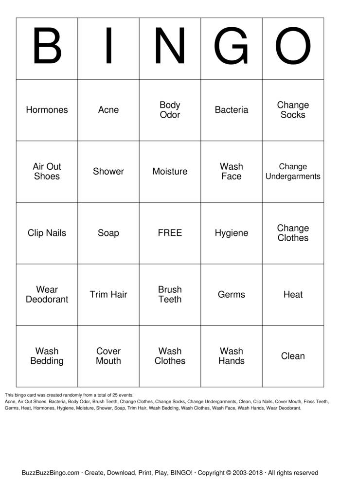 Download Personal Hygiene Bingo Cards