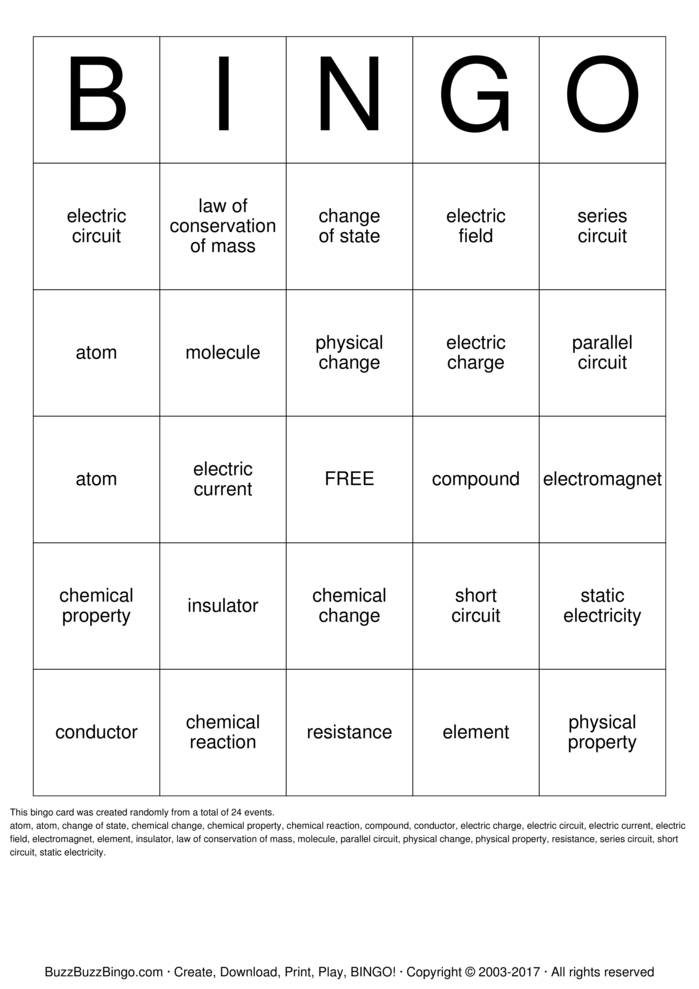 Download Physical Science  Bingo Cards