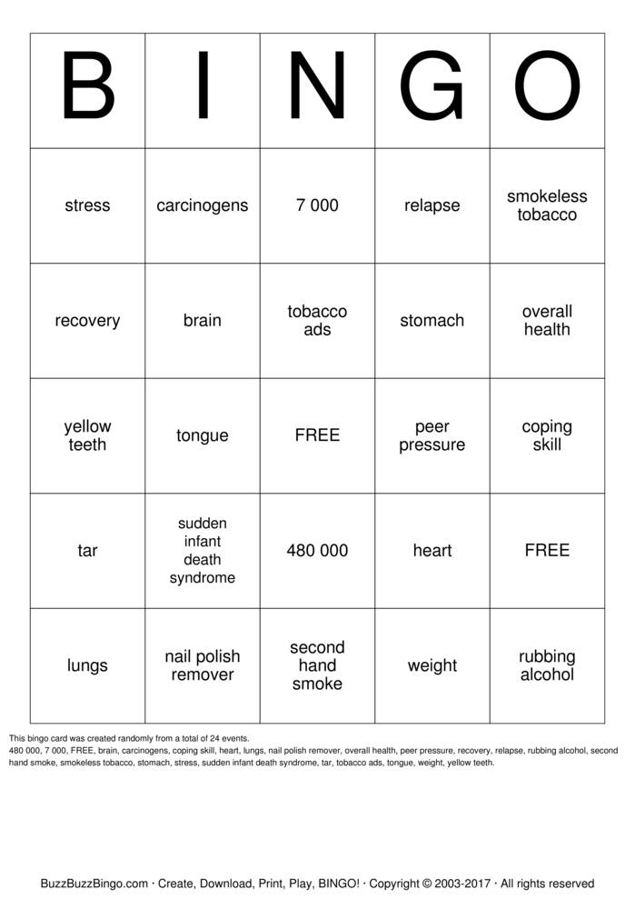 Download Free Smoking Cessation BINGO Bingo Cards