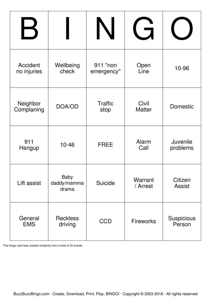 911 Dispatcher Bingo Card