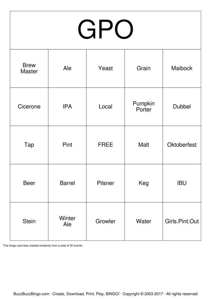 Download Free Beer  Bingo Cards