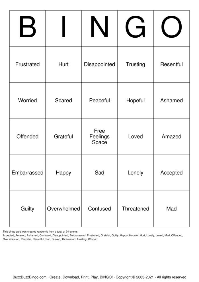 Download Free Feelings Bingo Cards