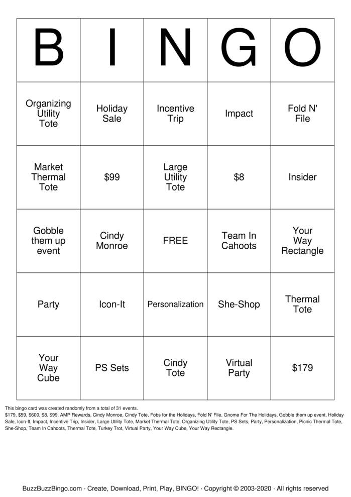 Download Free Thirty-One Gifts Bingo Cards