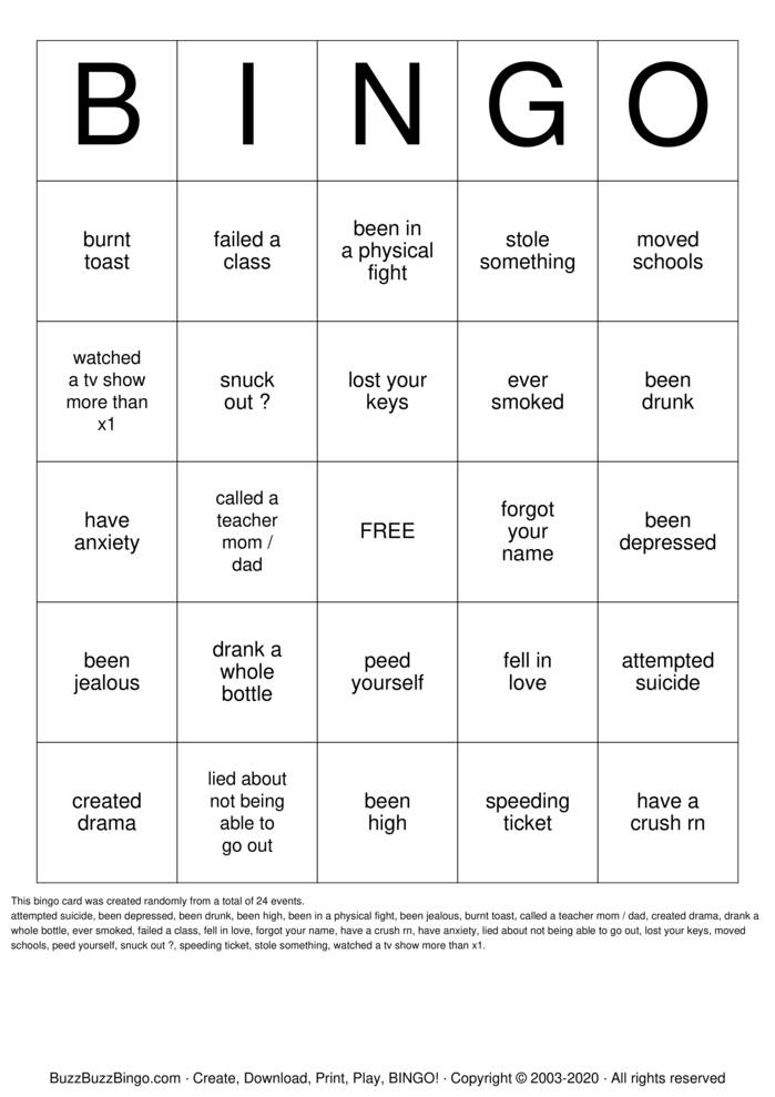 Download Free have you ever  Bingo Cards