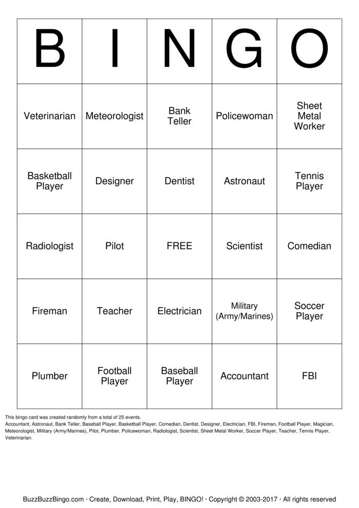 Download Free Career  Bingo Cards
