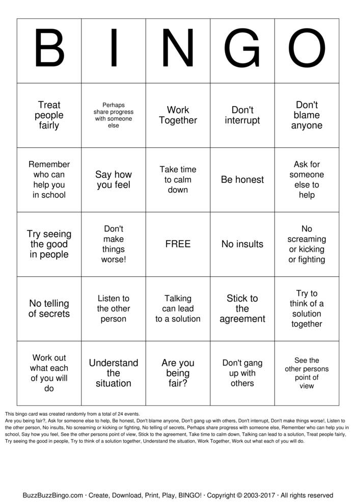 Conflict Resolution Bingo Card