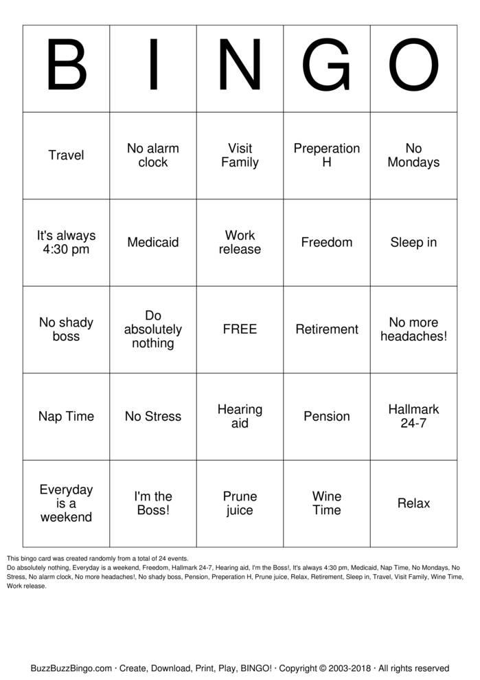 Download Free Drenda's Retirement Party Bingo Cards