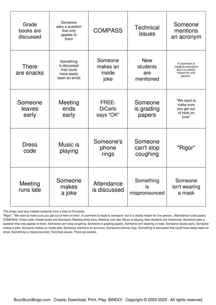 Download Free Faculty meeting BINGO Bingo Cards