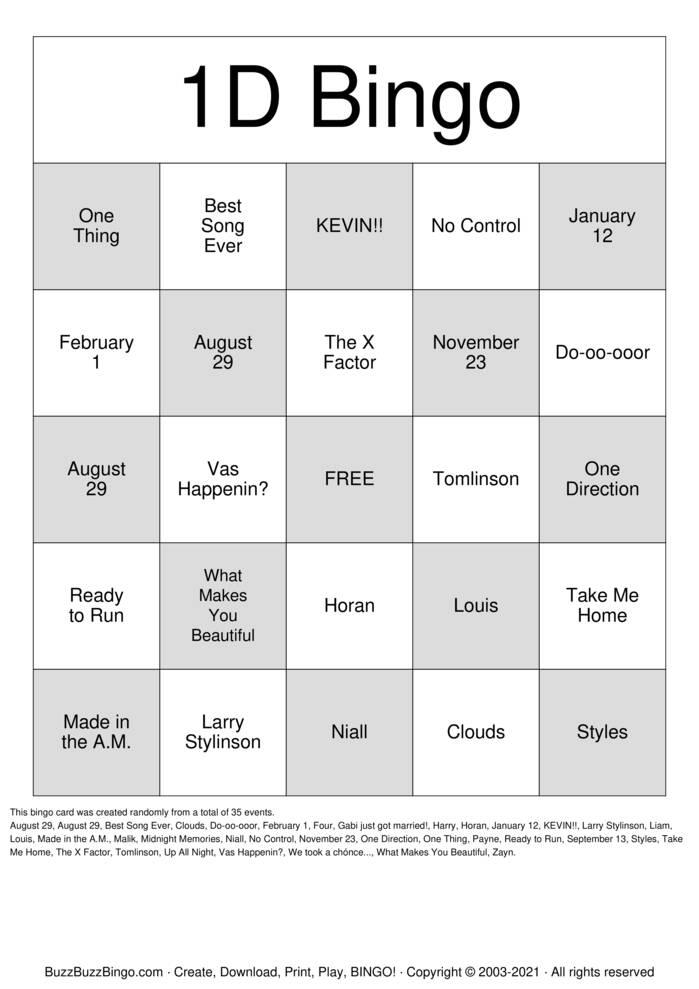 Download Free One Direction Bingo Bingo Cards