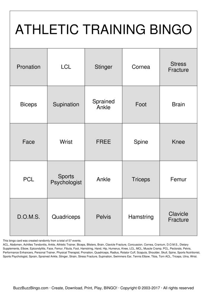 Download Free Sports Medicine Bingo Cards