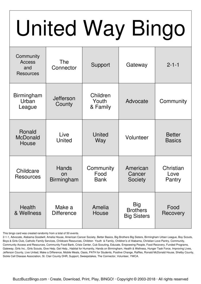 Download Free United Way Bingo Bingo Cards