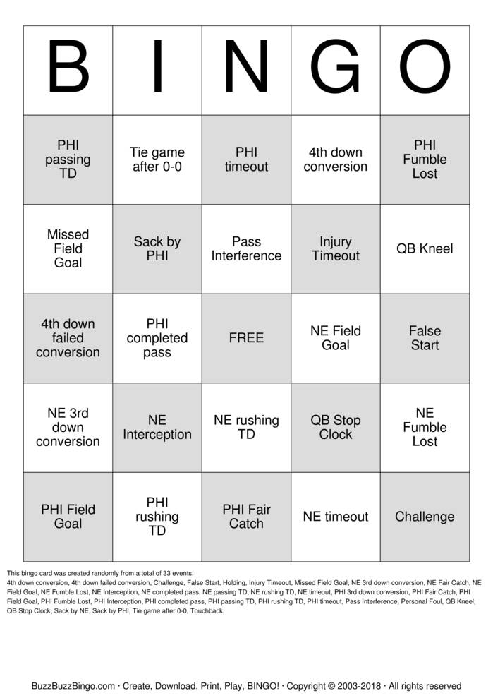 Download Free 2018 Superbowl NE vs PHI Bingo Cards