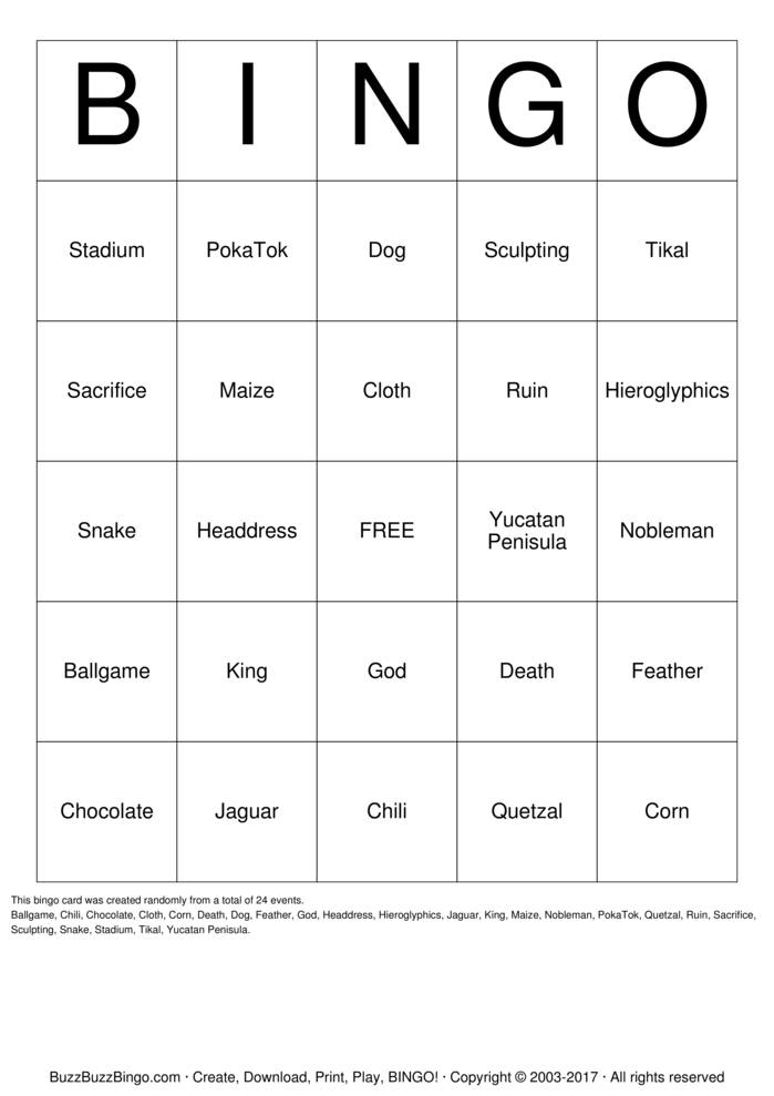 Ancient Mayans Bingo Card