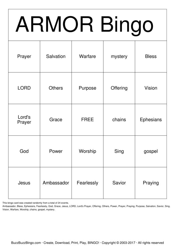Download Free Armor of God Bingo Cards
