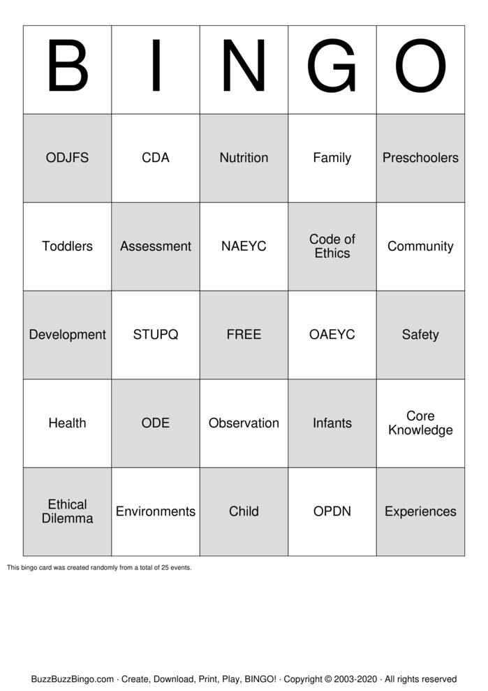 Download Free Core Knowledge Bingo Cards