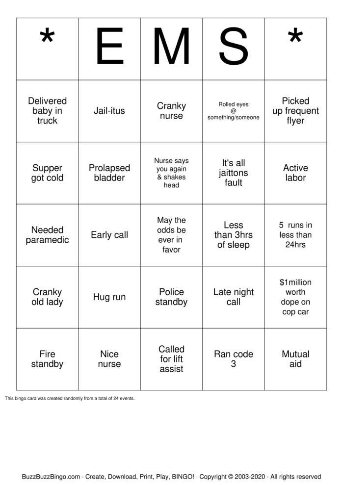 Download Free EMS  Bingo Cards