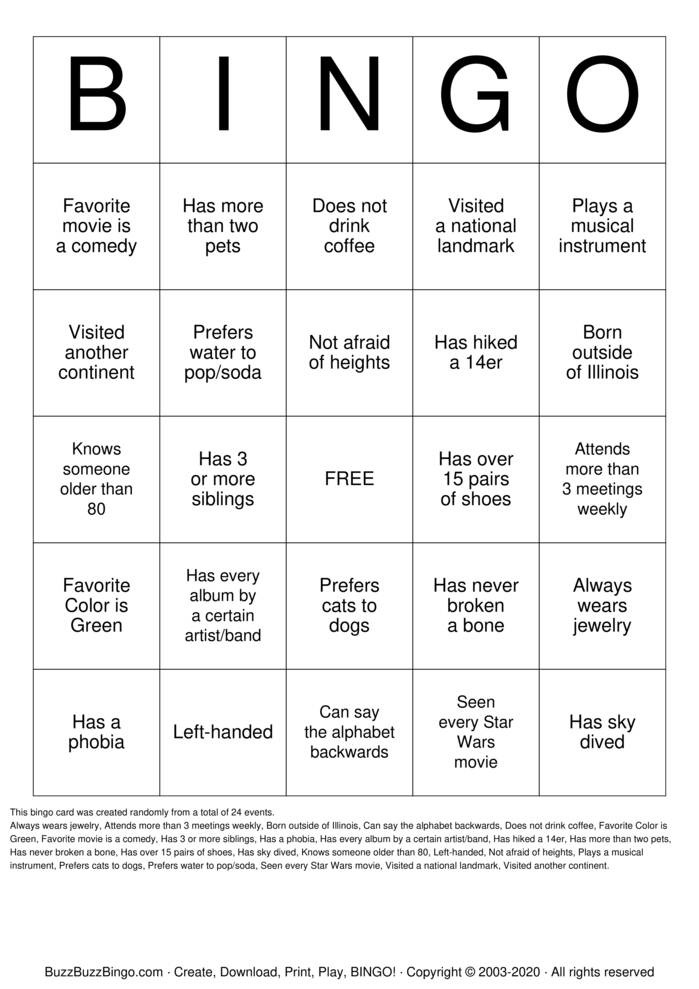 Download Free Get to know each other! Bingo Cards
