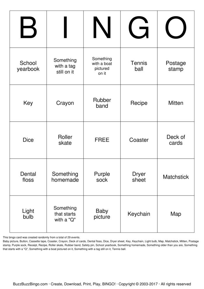 Home Scavenger Hunt Bingo Card