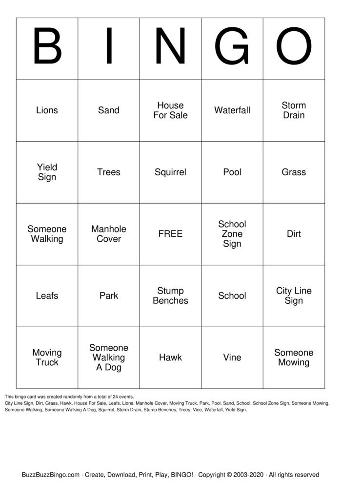 Nature Scavenger Hunt Bingo Card