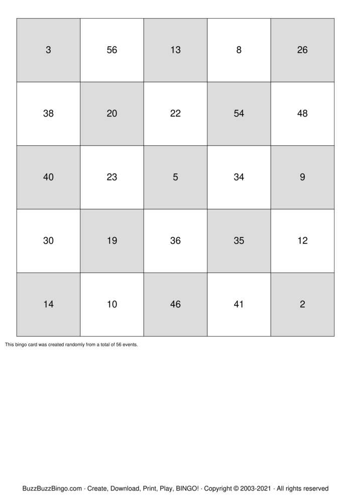 Download Free Numbers 1-56 Bingo Cards