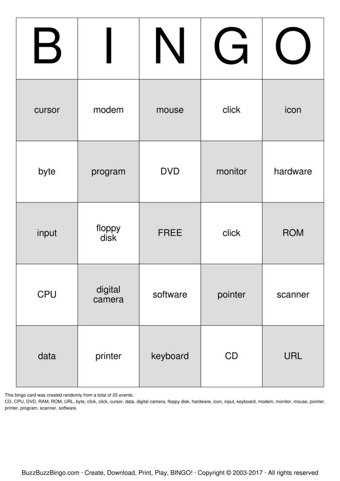 Download Free Technology Bingo Cards