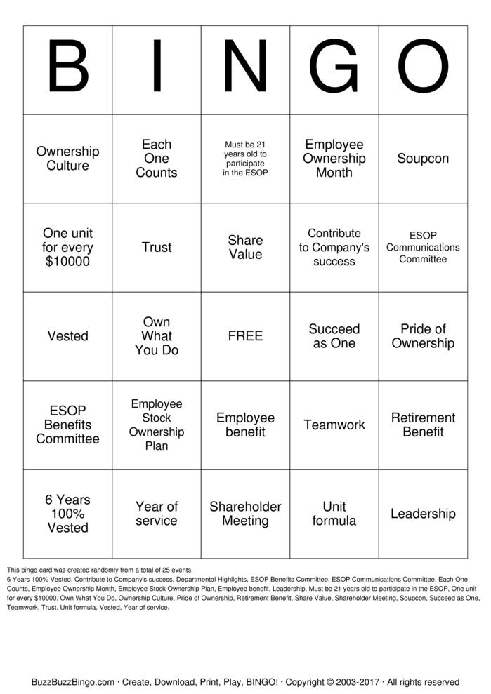 Download Free ESOP Bingo Cards