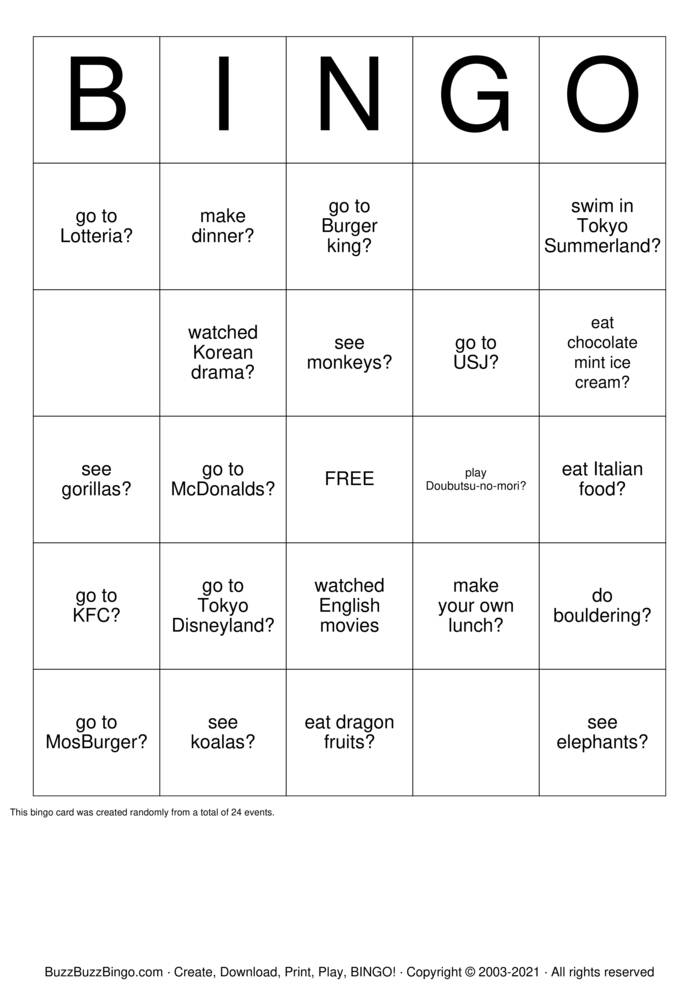 Download Free Have you ever...? Bingo Cards