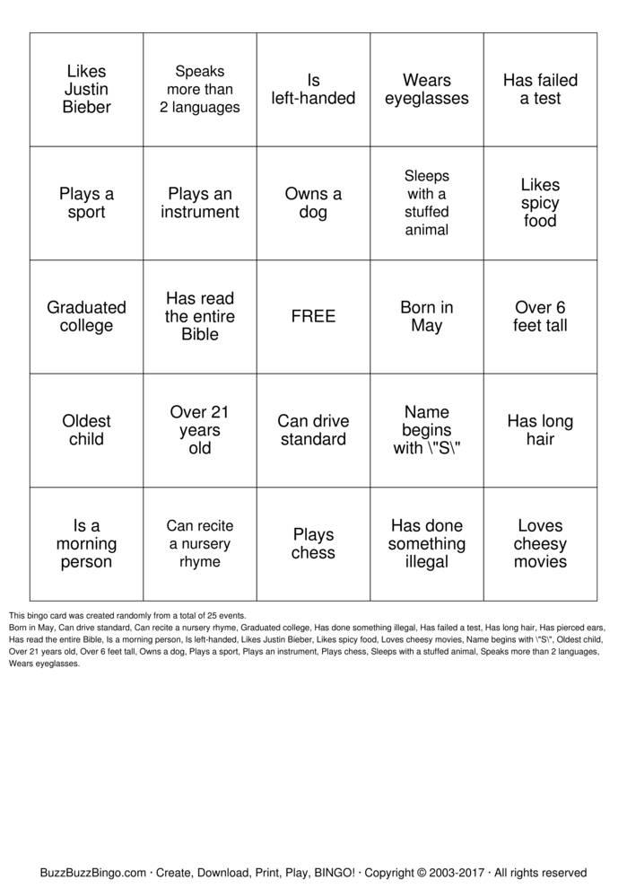 Human bingo printable cards free