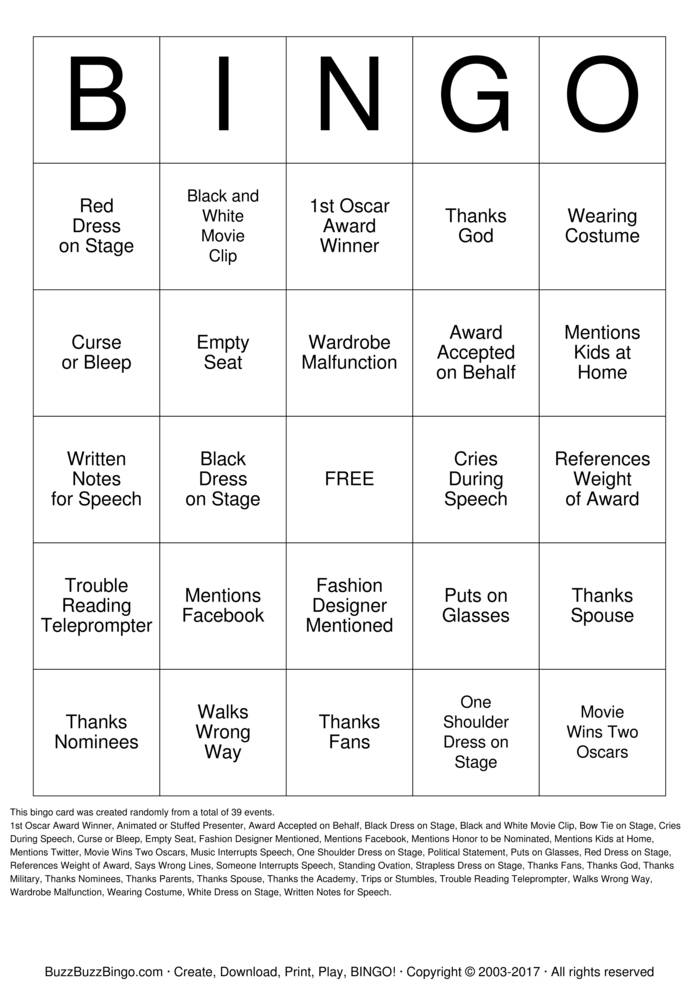 Download Free Oscars Bingo Cards