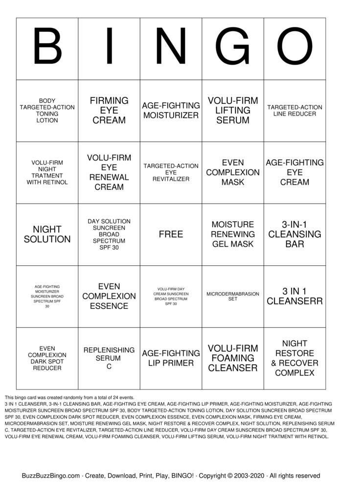 Download Free SKIN CARE Bingo Cards