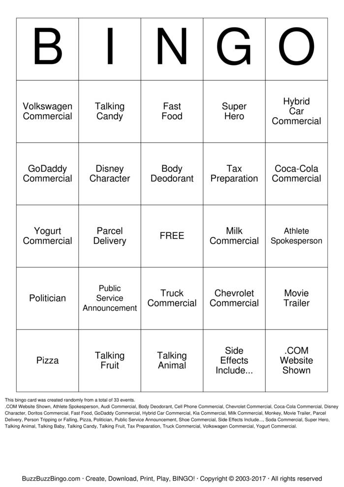 Download Free The BIG Game Commercials Bingo Cards