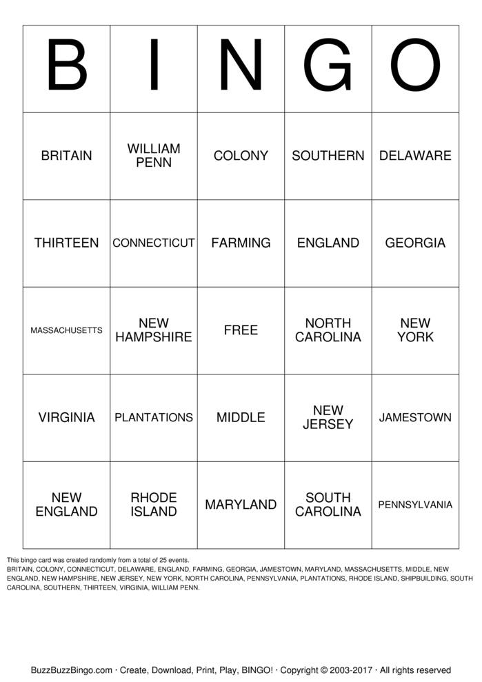 13 Colonies Bingo Card