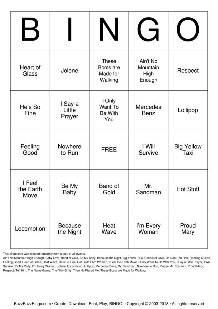 Download Free 50s 60s & 70s Bingo Cards